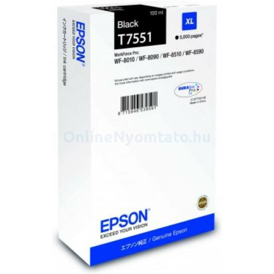 Epson T7551 fekete eredeti tintapatron